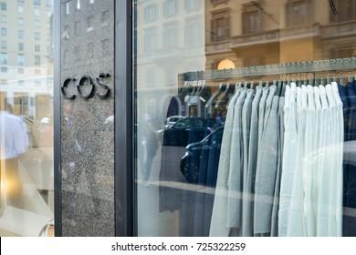 Milan, Italy - September 24, 2017:  Cos store in Milan. Fashion week Cos shopping
