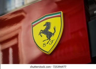 Milan, Italy - September 24, 2017:  Ferrari store in Milan. Fashion week Ferrari shopping