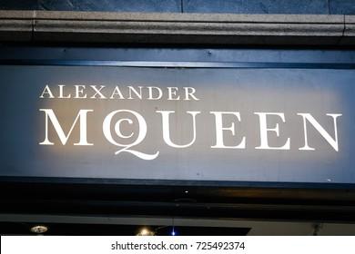 Milan, Italy - September 24, 2017:  Alexander McQueen store in Milan. Fashion week Alexander McQueen shopping