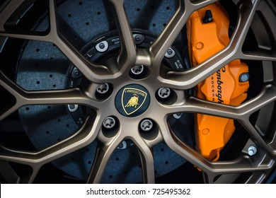 Milan, Italy - September 24, 2017:  Lamborghini car in Montenapoleone street. Lamborghini logo visible