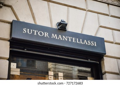 Milan, Italy - September 24, 2017:  Sutor Mantellassi store in Milan. Fashion week Sutor Mantellassi shopping