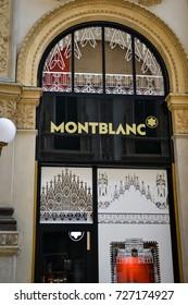 Milan, Italy - September 24, 2017:  Montblanc store in Milan. Fashion week Montblanc shopping