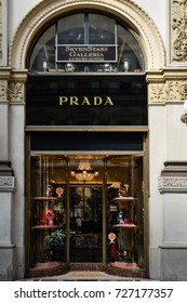 Milan, Italy - September 24, 2017:  Prada store in Milan. Fashion week Prada shopping