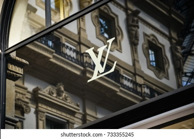 Milan, Italy - September 24, 2017:  Louis Vuitton store in Milan. Fashion week Louis Vuitton shopping