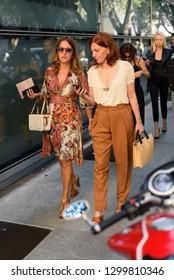 Milan, Italy - September 24, 2018: Street style outfits during Milan Fashion Week - - MFWSS19