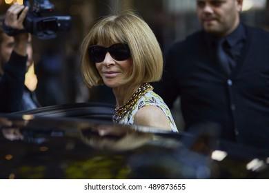 MILAN, ITALY - SEPTEMBER 25, Anna Wintour leaves Dolce & Gabbana fashion show, Milan Fashion Week Spring/Summer 2017