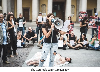 MILAN, ITALY - SEPTEMBER 26: 269 Life  manifestation on September 26, 2013. Animal right association '269 Life' protest against vivisection, animals right, meat nutrition and production