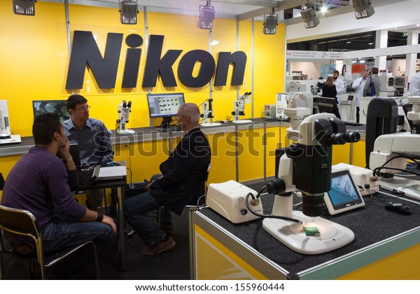 MILAN, ITALY � SEPTEMBER 26: People visit Nikon stand at Chem-Med exhibition, complete showcase of equipment and instrumentation for chemical laboratory on SEPTEMBER 26, 2013 in Milan.