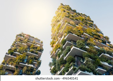 MILAN, ITALY - SEPTEMBER 27, 2016: Vertical gardens skyscraper with trees growing on balconies, built for Expo 2015.