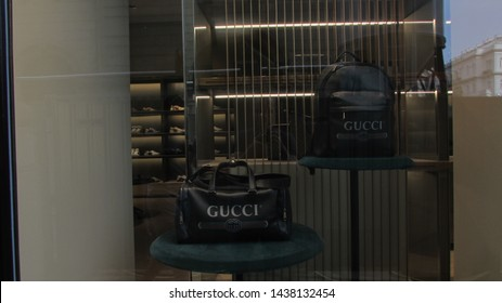 Milan, Italy - September 27, 2019: Gucci bag in a Gucci store i. N Milan. Fashion week. New Collection