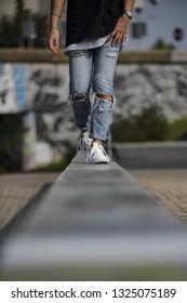 Milan, Italy - September 28, 2017: Adidas Superstar shoes in the street - illustrative editorial
