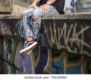Milan, Italy - September 28, 2017: Vans Old Skool shoes in the street - illustrative editorial