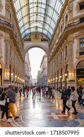 Milan, Italy, September 29, 2015 : The interior of Galleria Vittorio Emanuele II - Mall housed in glass-covered 19th-century arcade with luxury clothing brands and upscale dining in Milan city, Italy