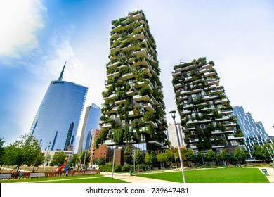 "MILAN, ITALY - SEPTEMBER 29, 2017 - View of the ""Bosco Verticale"" and ""Unicredit Tower"", some skyscrapers in Porta Nuova, the business district of Milan, Italy"