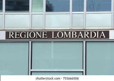 MILAN, ITALY - SEPTEMBER 29, 2017: Regione Lombardia symbol and sign on the palace who is the new headquarters of the Regional Government of Lombardy, Italy