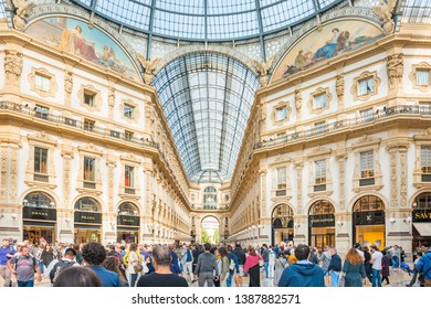 MILAN, ITALY - SEPTEMBER 29, 2018: Crowd of people in famous shopping and art center in Milan, Italy