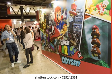 MILAN, ITALY - SEPTEMBER 29: People visit Games Week 2017, event dedicated to video games and electronic entertainment on SEPTEMBER 29, 2017 in Milan.