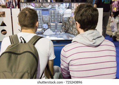 MILAN, ITALY - SEPTEMBER 29: People play at Games Week 2017, event dedicated to video games and electronic entertainment on SEPTEMBER 29, 2017 in Milan.