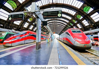 Milan, Italy - September 7, 2016 : View of the High-speed train at Milano Centrale railway station in Milan on September 7, 2016.