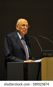 """MILAN, ITALY - STEPTEMBER 27: Giorgio Napolitano Italian President in Meeting organized by Bocconi University on Luigi Spaventa His life, his passions, his lectures """", Sept 27, 2013 in Milan, Italy."""