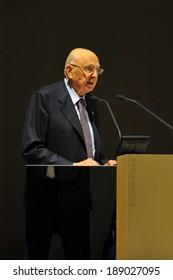 "MILAN, ITALY - STEPTEMBER 27: Giorgio Napolitano  Italian Presiden in Meeting organized by Bocconi University on Luigi Spaventa His life, his passions, his lectures "", Sept 27, 2013 in Milan, Italy."