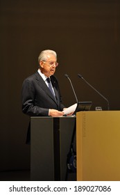 """MILAN, ITALY - STEPTEMBER 27: Mario Monti in Meeting organized by Bocconi University on Luigi Spaventa His life, his passions, his lectures """", Sept 27, 2013 in Milan, Italy."""