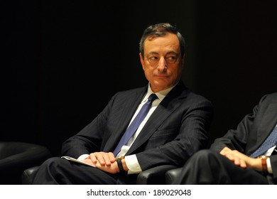 "MILAN, ITALY - STEPTEMBER 27: Mario Draghi in Meeting organized by Bocconi University on Luigi Spaventa His life, his passions, his lectures "", Sept 27, 2013 in Milan, Italy."