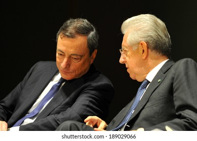 "MILAN, ITALY - STEPTEMBER 27: Mario Draghi and Mario Monti in Meeting organized by Bocconi University on Luigi Spaventa His life, his passions, his lectures "", Sept 27, 2013 in Milan, Italy."