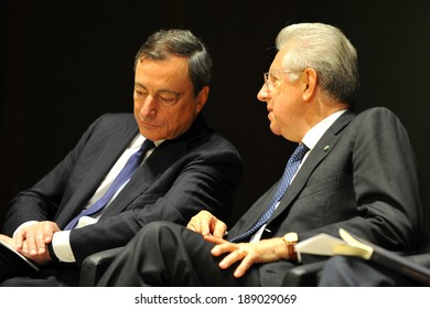 """MILAN, ITALY - STEPTEMBER 27: Mario Draghi and Mario Monti in Meeting organized by Bocconi University on Luigi Spaventa His life, his passions, his lectures """", Sept 27, 2013 in Milan, Italy."""