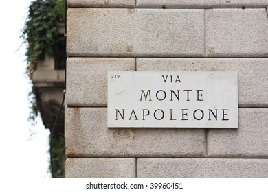Milan, Italy. Via Monte Napoleone sign, street in Milan center for fashion and luxury