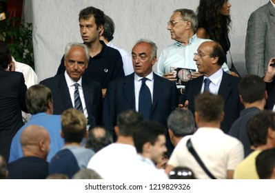 "Milan  Italy,18 August 2002,""G.MEAZZA SAN SIRO""Stadium,XII Trofeo Berlusconi 2002/2003, AC Milan-FC Juventus:The managers of Juventus Roberto Bettega, Antonio Giraudo and Luciano Moggi in the stands"
