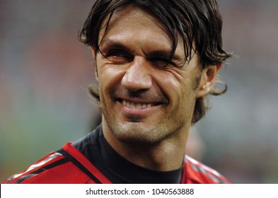 MILAN, ITALY-APRIL 06, 2005. famous AC Milan soccer player and captain Paolo Maldini, portraited at the San Siro soccer stadium, in Milan.