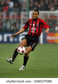 MILAN, ITALY-APRIL 06, 2005. famous AC Milan brazilian soccer player Cafu, in action at the San Siro soccer stadium, in Milan.
