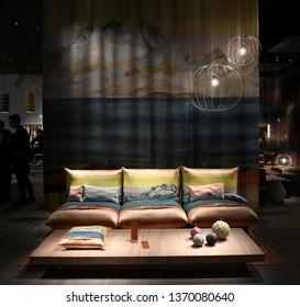 MILAN, ITALY-APRIL 09, 2019: Missoni interior furniture design are displayed at the international fair Salone del Mobile, in Milan.