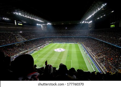 MILAN, ITALY-APRIL 10, 2007: Panoramic view of the San Siro stadium at night before the start of a UEFA Champions League soccer match.