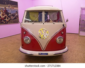 MILAN, ITALY-APRIL 17, 2015: vintage Volkswagen van displayed during the exhibition Arts and Foods, at La Triennale museum, in Milan.