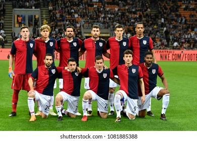 MILAN, ITALY-APRIL 17, 2018: Cagliari soccer team photo during the italian professional league match Inter Milan vs Cagluari, at the san siro stadium, in Milan.