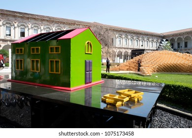 MILAN, ITALY-APRIL, 17, 2018: green house model on the historical courtyard of the Statale University, at Fuori Salone, during the International Design week, of the Salone del Mobile, in Milan.