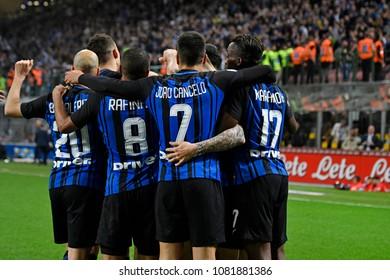 MILAN, ITALY-APRIL 17, 2018: Inter Milan soccer players embrace after win during the italian professional league match Inter Milan vs Cagliari, at the san siro stadium, in Milan.
