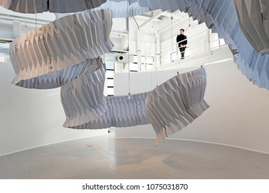 MILAN, ITALY-APRIL 17, 2018: interior art installation Kengo Kuma, displayed at Sperstudio, Fuorii Salone, during the international design fair, Salone del Mobile, in Milan.