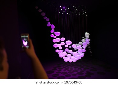 MILAN, ITALY-APRIL 17, 2018: interior lights installation displayed at Superstudio, Fuorii Salone, during the international design fair, Salone del Mobile, in Milan.