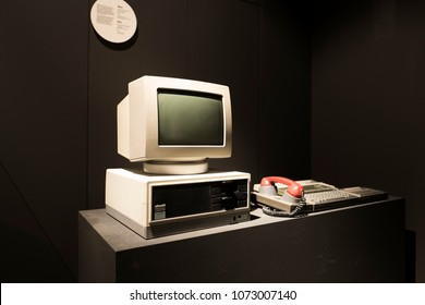 MILAN, ITALY-APRIL 17, 2018: vintage Olivetti italian personal computer, celebrated at the Triennale Design Museum, during the international fair Salone del Mobile, in Milan.