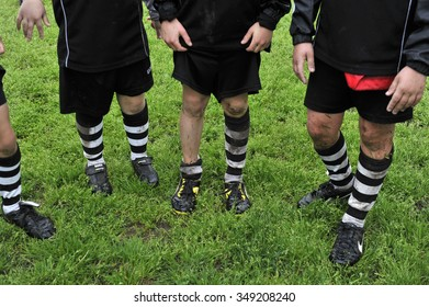 MILAN, ITALY-APRIL 21, 2014: children after played rugby in the park during a rugby school, in Milan.