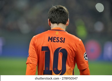 MILAN, ITALY-APRIL 23, 2009: FC Barcelona soccer player Lionel Messi portrait at the San Siro soccer stadium during the UEFA Champions League match AC Milan vs FC Barcelona, in Milan.