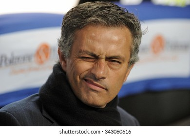 MILAN, ITALY-APRIL 23, 2009: FC Internazionale soccer coach Jos�¨ Mourinho at san siro soccer stadium, in Milan.