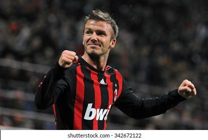 MILAN, ITALY-APRIL 26, 2009: AC Milan soccer player David Beckham celebrates during the Italian Serie A soccer macth AC Milan vs Palermo, at San Siro stadium, in Milan.