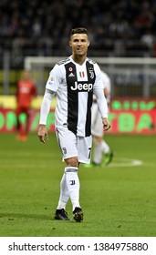 MILAN, ITALY-APRIL 27, 2019: portuguese soccer's star Cristiano Ronaldo, plays with  Juventus F.C. vs Inter Milan, at the san siro soccer stadium, in Milan.
