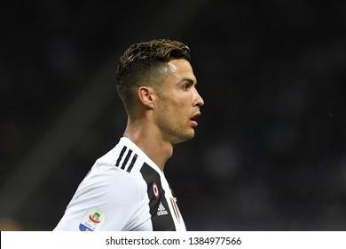 MILAN, ITALY-APRIL 27, 2019: portuguese soccer's star Cristiano Ronaldo, portraited with  Juventus F.C. vs Inter Milan, at the san siro soccer stadium, in Milan.