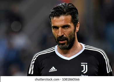 MILAN, ITALY-APRIL 28, 2018: FC Juventus goalkeeper Gianluigi Buffon in action during the italian serie A match Inter Milan vs FC Juventus, at the san siro soccer stadium, in Milan.