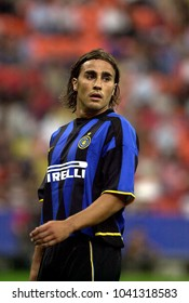 MILAN, ITALY-AUGUST 23, 2002: FC Internazionale's italian famous soccer player Fabio Cannavaro, portraited during the Italian League Serie A, at the San Siro soccer stadium, in Milan.